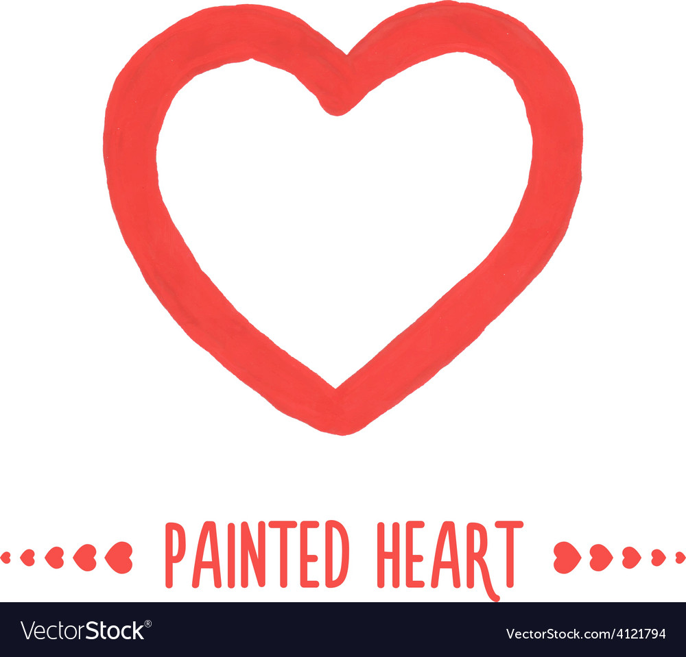 Painted hand drawn outlined heart vector | Price: 1 Credit (USD $1)