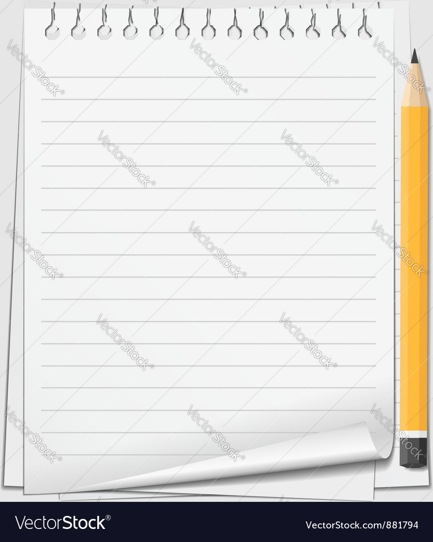 Paper with pencil vector | Price: 1 Credit (USD $1)