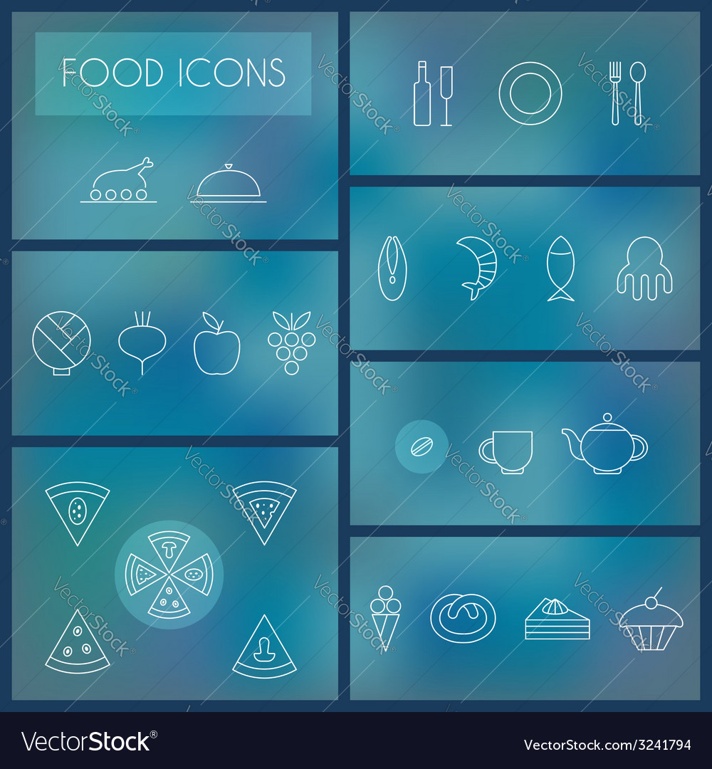 Set of food thin line icons for web and mobile vector | Price: 1 Credit (USD $1)