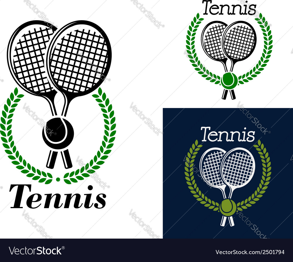 Tennis emblem with laurel wreath vector | Price: 1 Credit (USD $1)