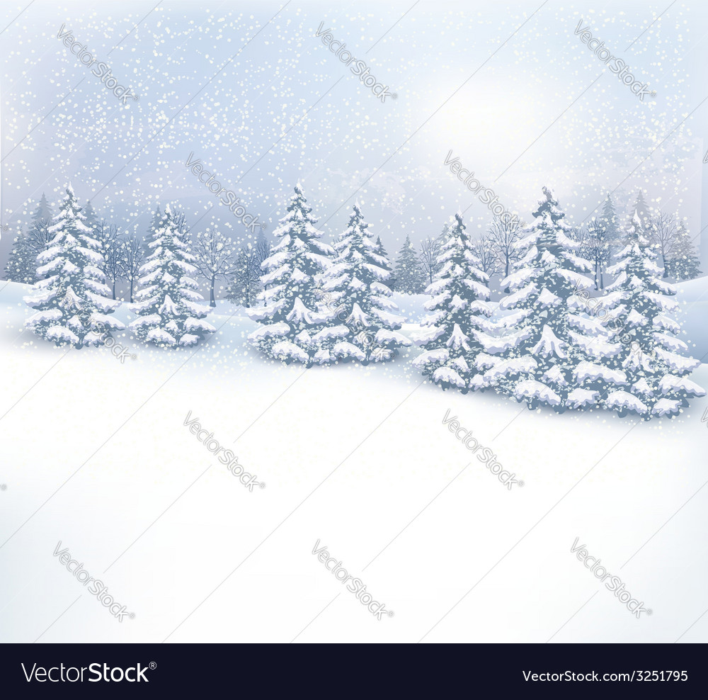 Christmas winter landscape background vector | Price: 1 Credit (USD $1)