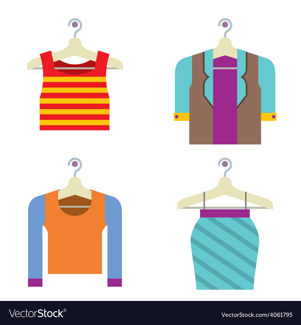 Colorful woman clothes on hanger vector | Price: 1 Credit (USD $1)