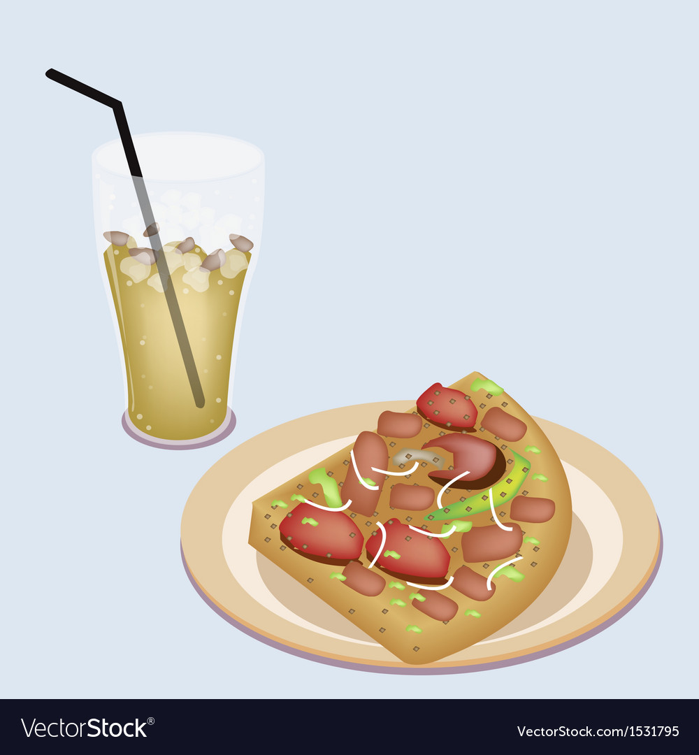 Delicious sliced pizza on dish with lemon iced tea vector | Price: 1 Credit (USD $1)