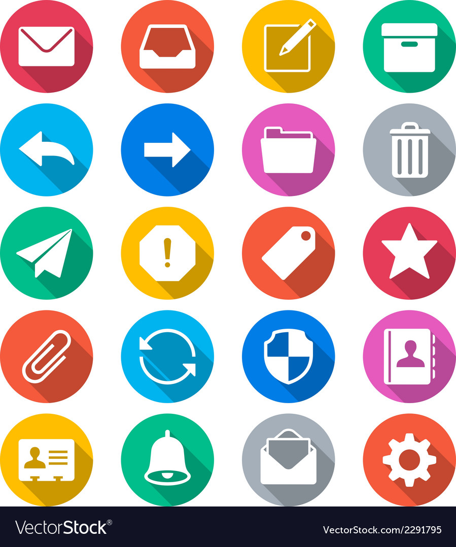 Email flat color icons vector | Price: 1 Credit (USD $1)