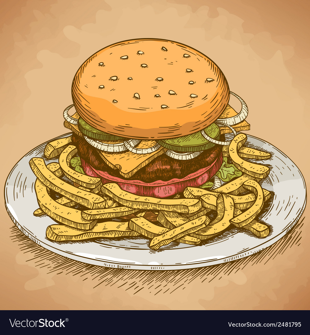 Engraving hamburger retro vector | Price: 1 Credit (USD $1)
