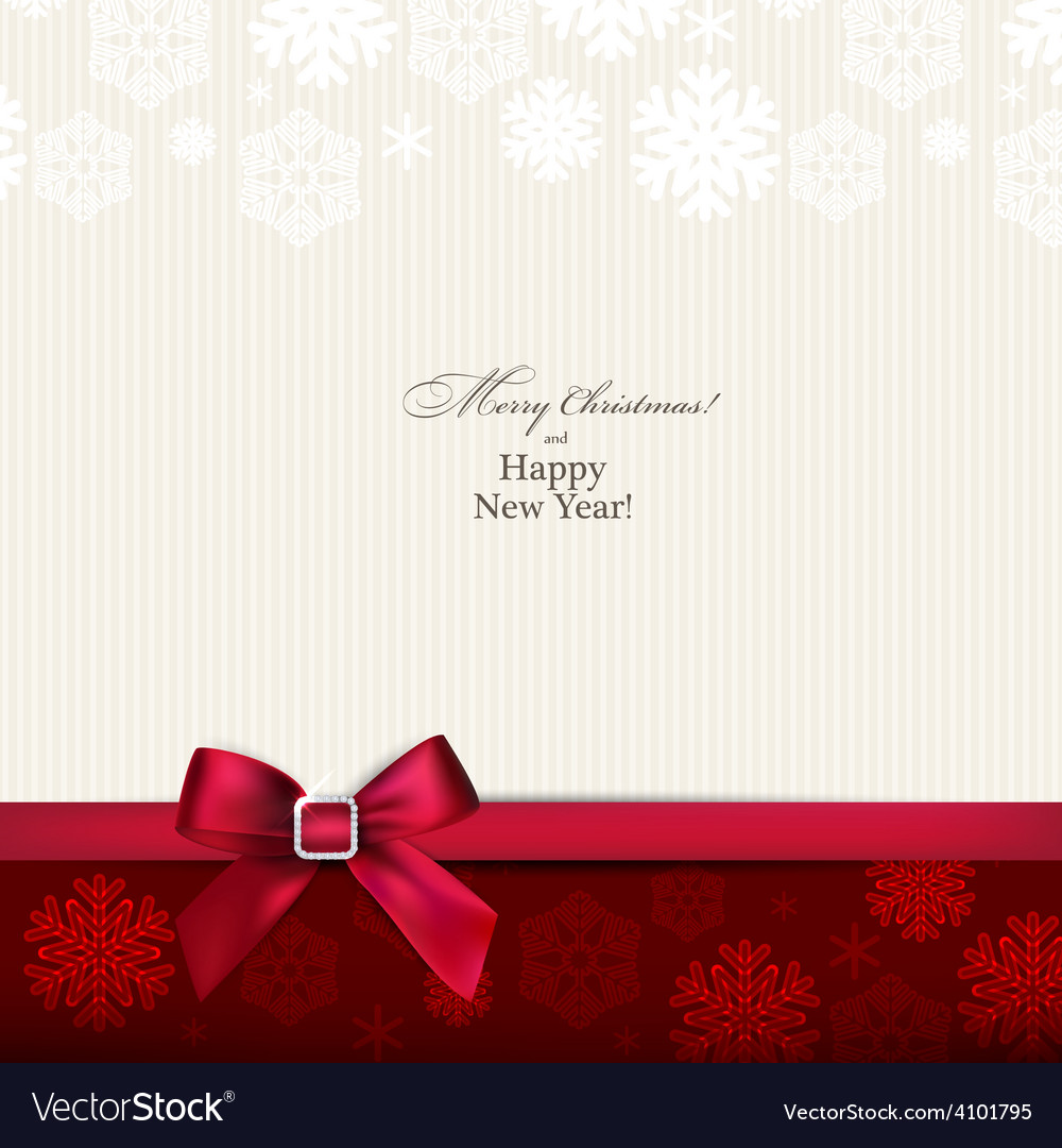 Greeting card with red bow vector   Price: 1 Credit (USD $1)
