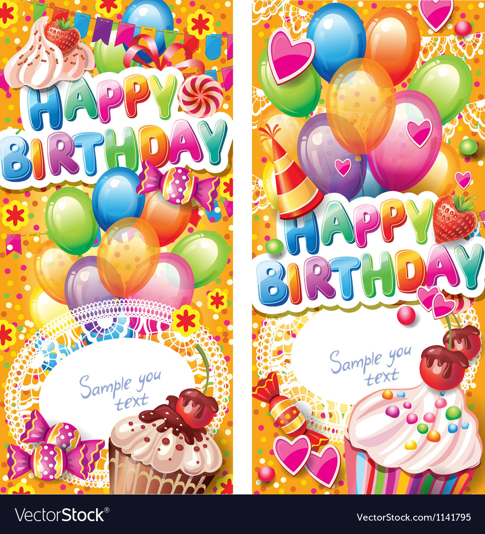 Happy birthday vertical cards vector | Price: 3 Credit (USD $3)