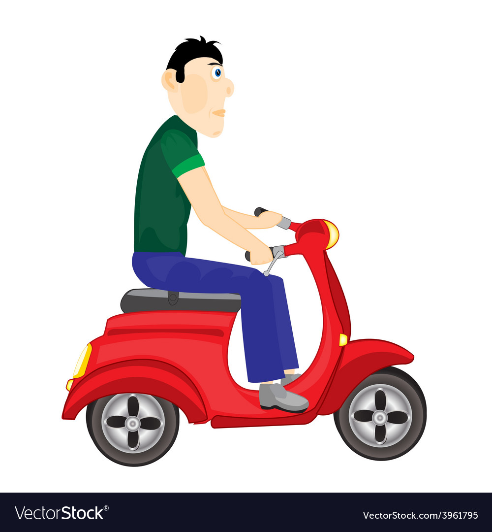Man goes on scooter vector | Price: 1 Credit (USD $1)