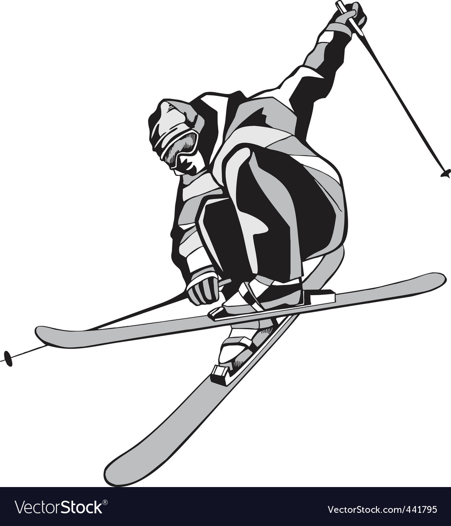 Mountain skier silhouette vector | Price: 1 Credit (USD $1)
