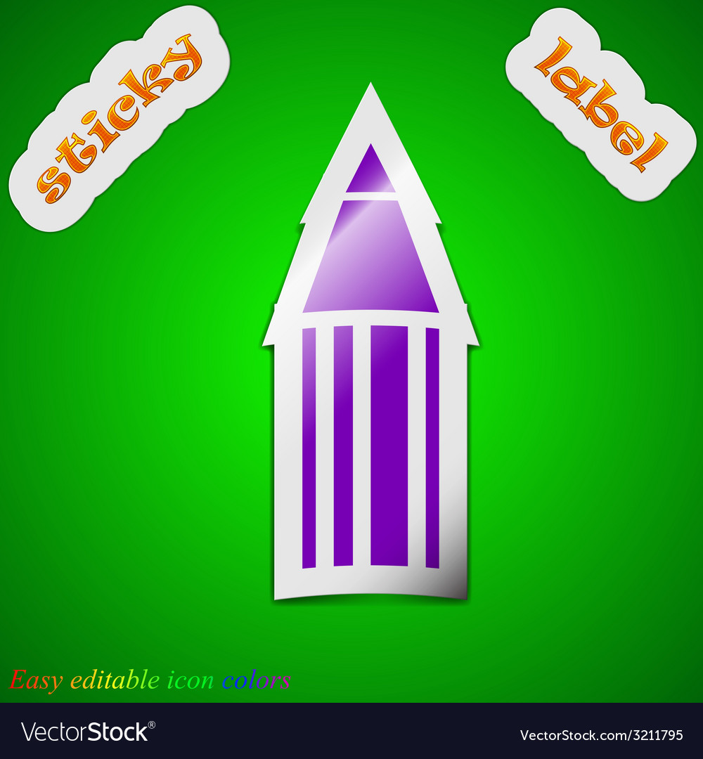 Pencil icon sign symbol chic colored sticky label vector | Price: 1 Credit (USD $1)