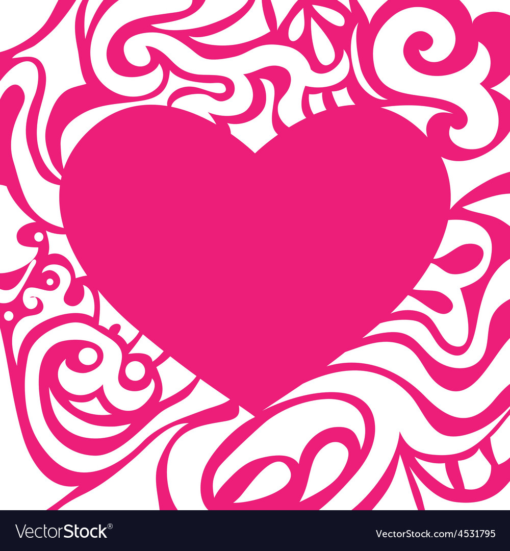 Pink romantic valentine card with curly frame vector | Price: 1 Credit (USD $1)