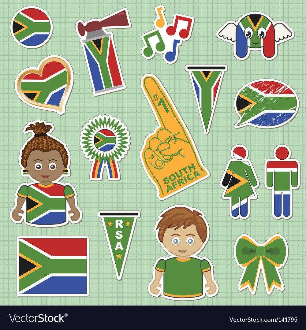 South africa supporter stickers vector | Price: 1 Credit (USD $1)