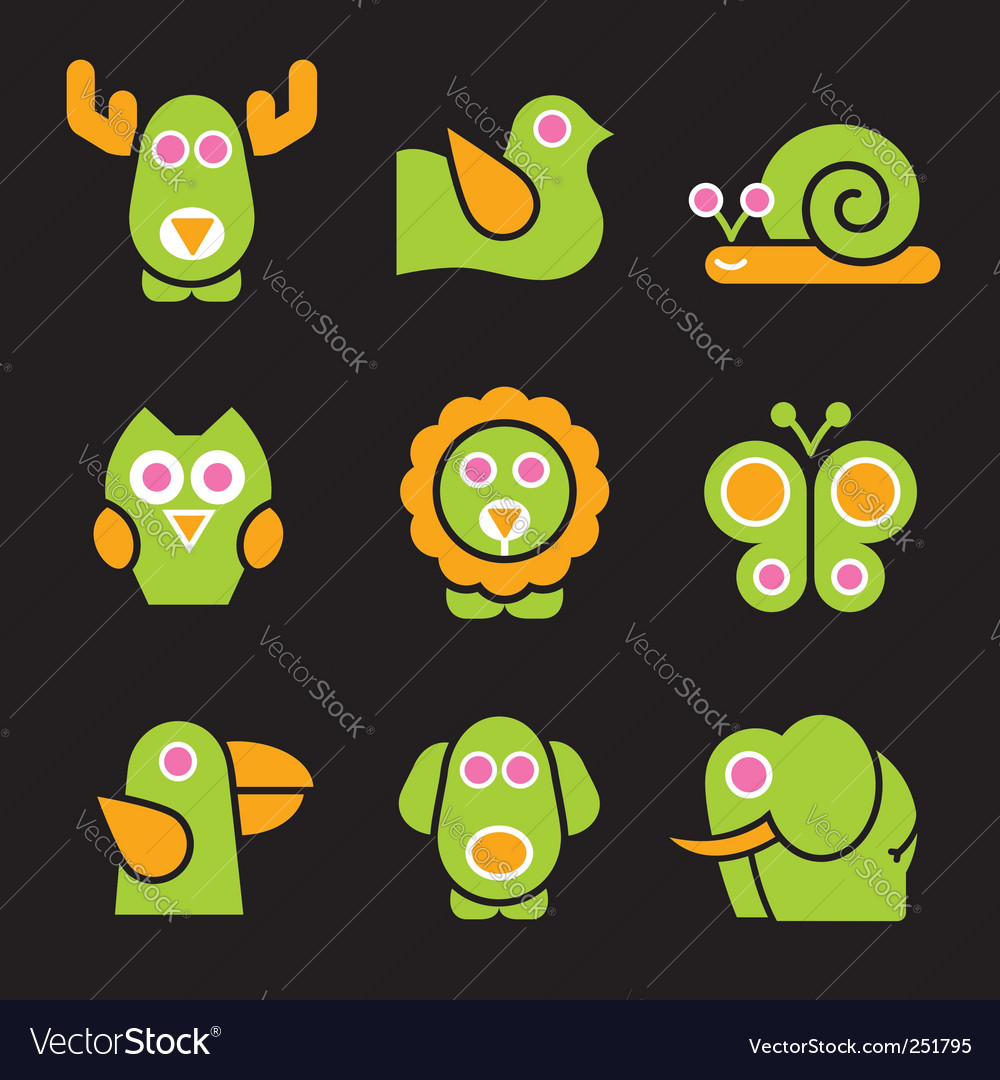 Stylized animals vector | Price: 1 Credit (USD $1)