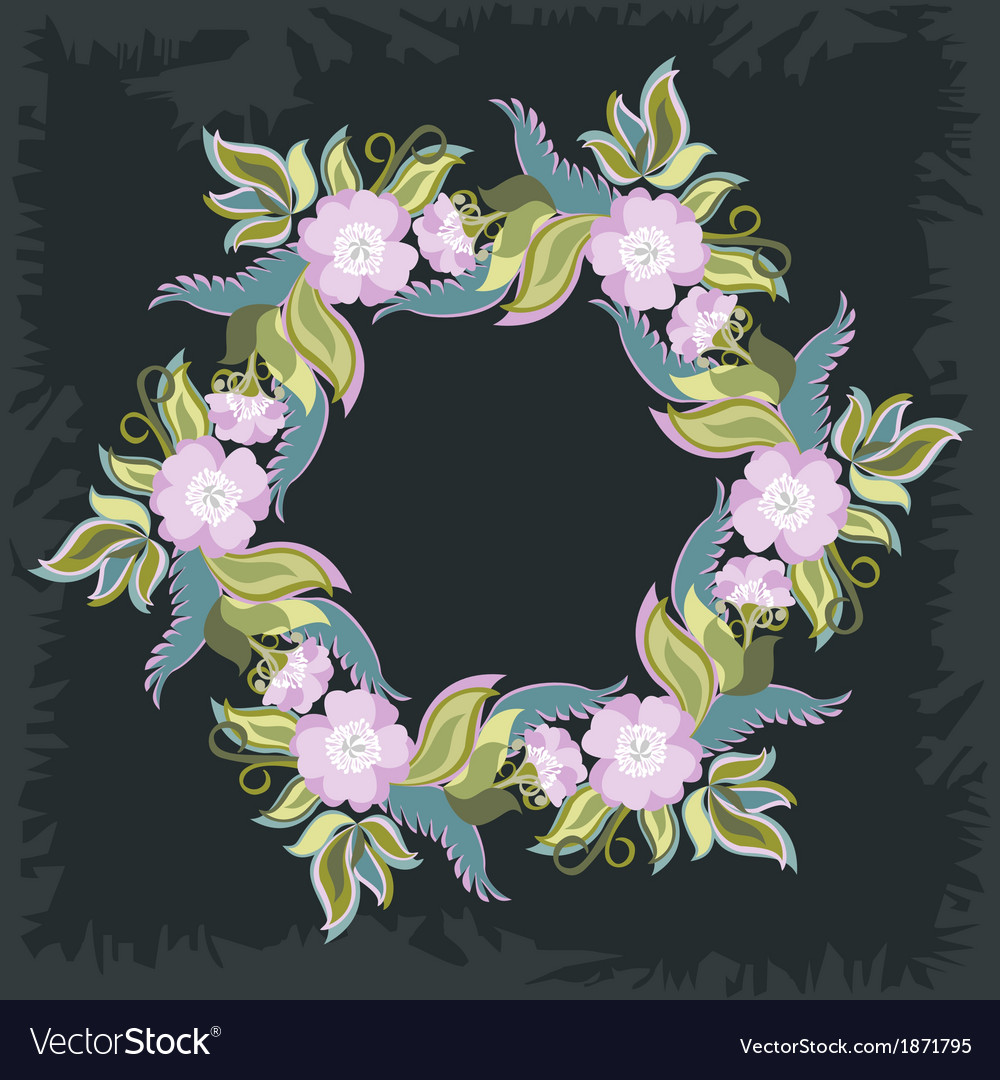 Wreath with poppies and leaves vector | Price: 1 Credit (USD $1)