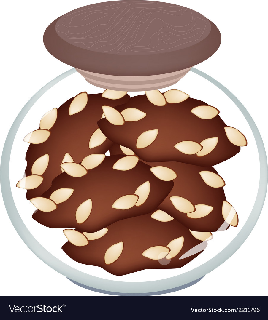 A jar of delicious homemade almond cookies vector | Price: 1 Credit (USD $1)