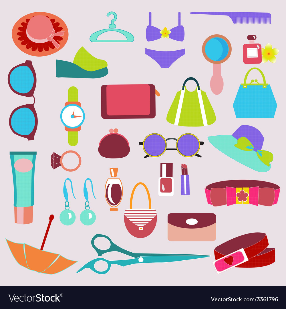 Accessories vintage icons vector | Price: 1 Credit (USD $1)