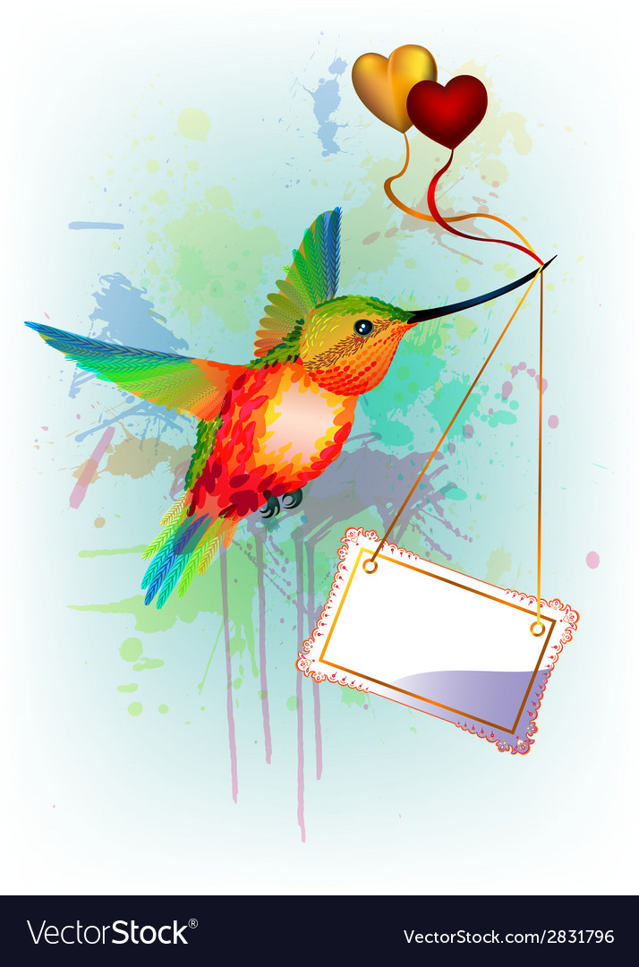 Card with rainbow humming-bird and place for text vector
