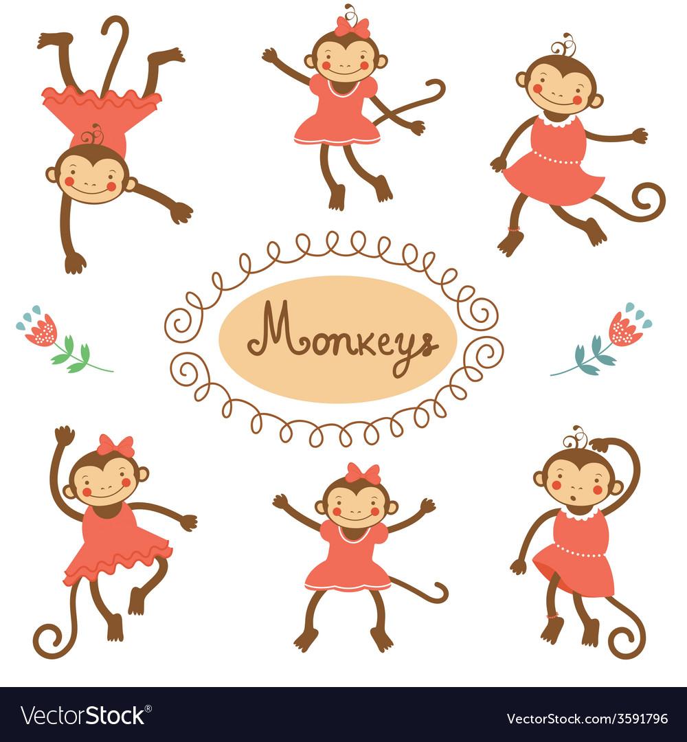 Cute funny monkeys vector   Price: 1 Credit (USD $1)