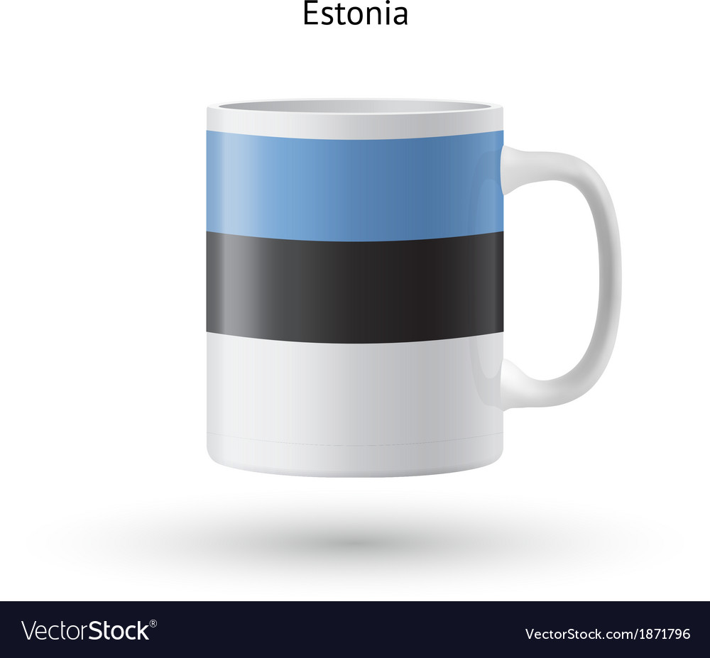 Estonia flag souvenir mug on white background vector | Price: 1 Credit (USD $1)