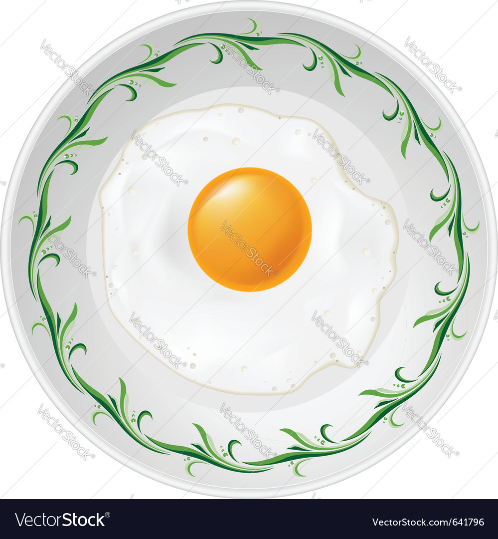 Fried egg on plate on white background vector | Price: 1 Credit (USD $1)