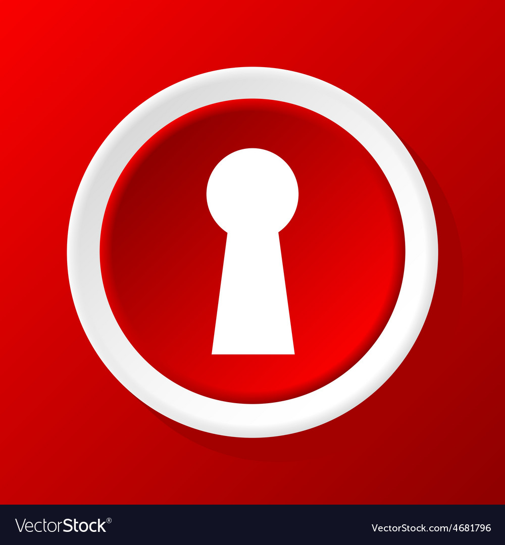 Keyhole icon on red vector | Price: 1 Credit (USD $1)