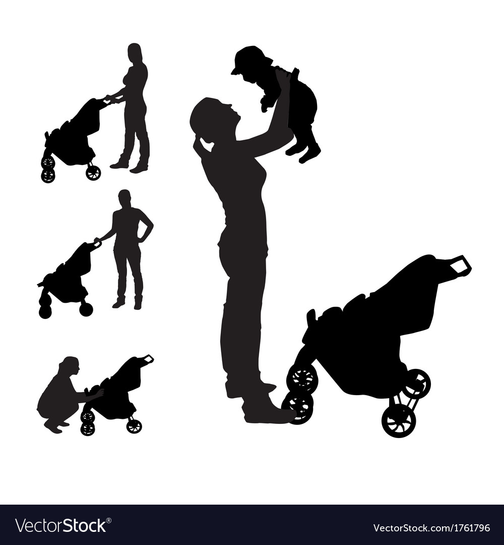 Mother with pram silhouette vector | Price: 1 Credit (USD $1)