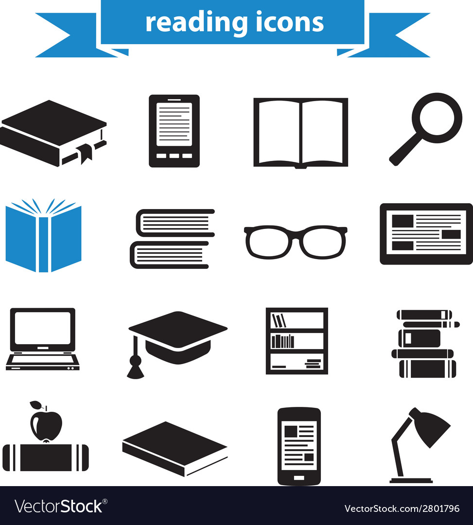 Reading icons vector | Price: 1 Credit (USD $1)