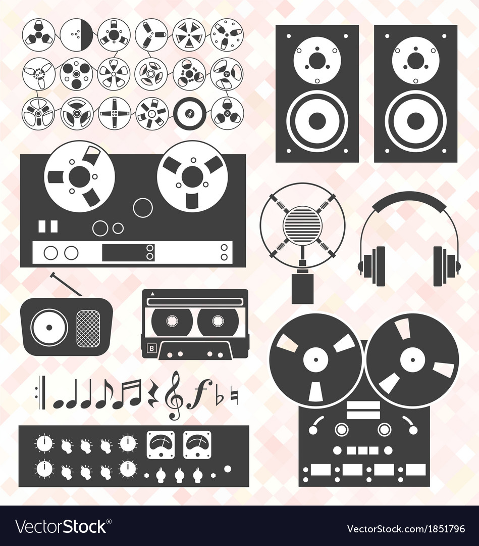 Retro music recording equipment object vector | Price: 1 Credit (USD $1)