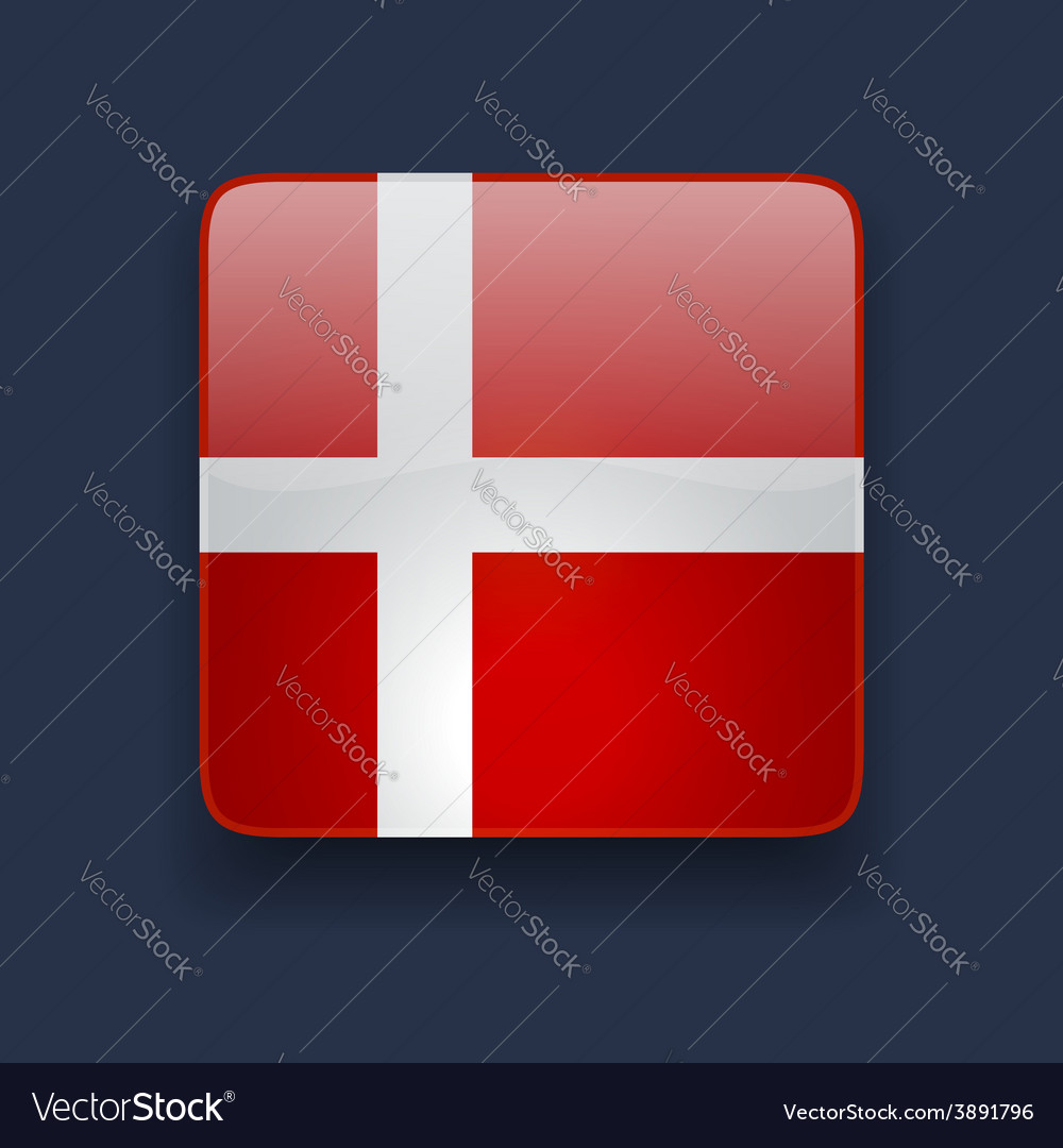 Square icon with flag of denmark vector | Price: 1 Credit (USD $1)