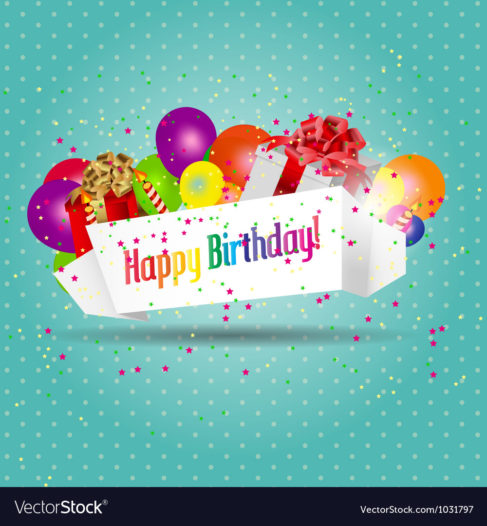 Birthday card with cake and balloons vector   Price: 1 Credit (USD $1)