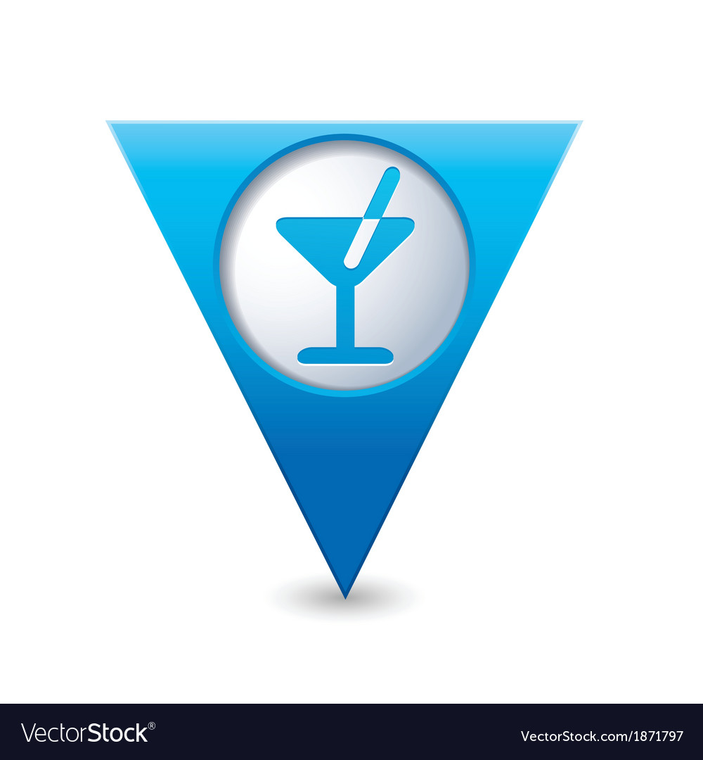 Cocktail icon map pointer blue vector | Price: 1 Credit (USD $1)