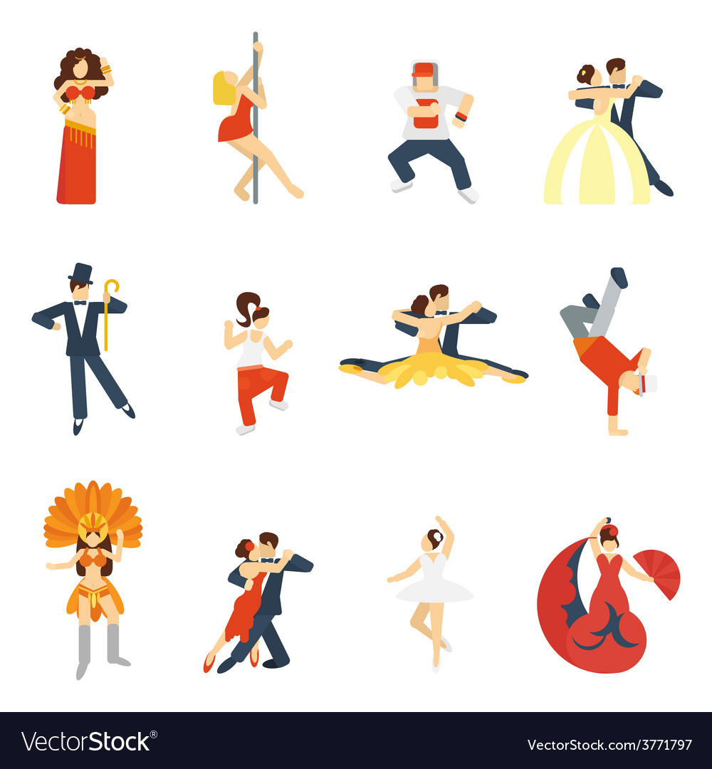 Dance icon flat vector | Price: 1 Credit (USD $1)
