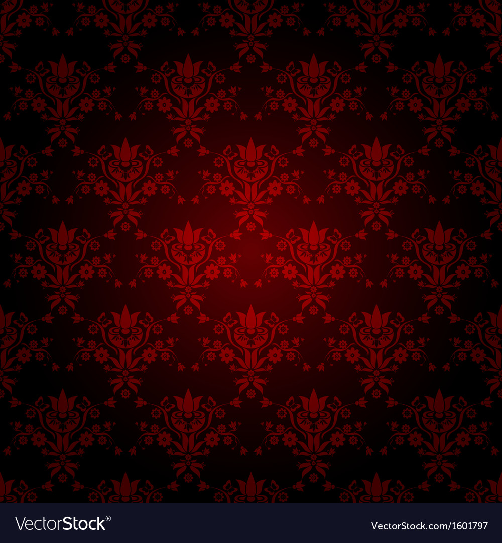 Decorative red seamless wallpaper vector | Price: 1 Credit (USD $1)