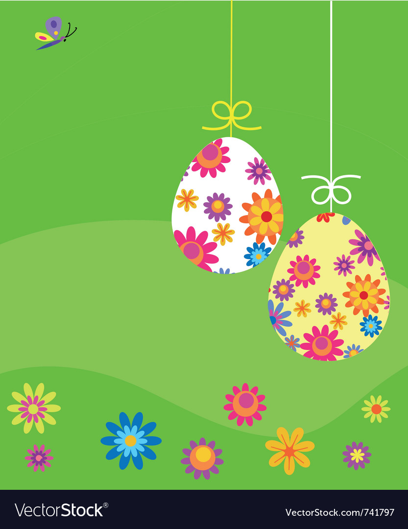 Easter card eggs with flower template vector   Price: 1 Credit (USD $1)