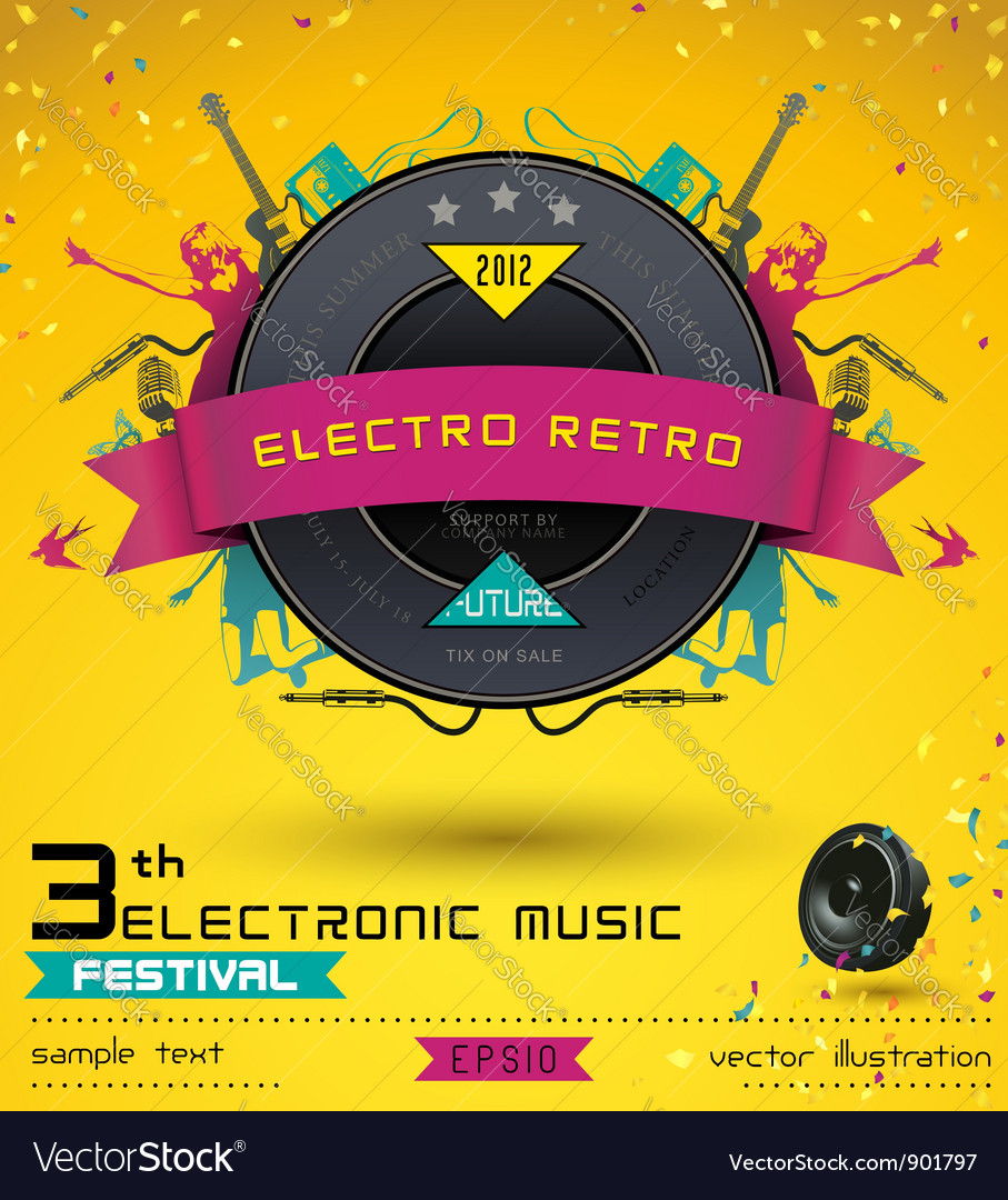 Electro retro music festival vector | Price: 1 Credit (USD $1)
