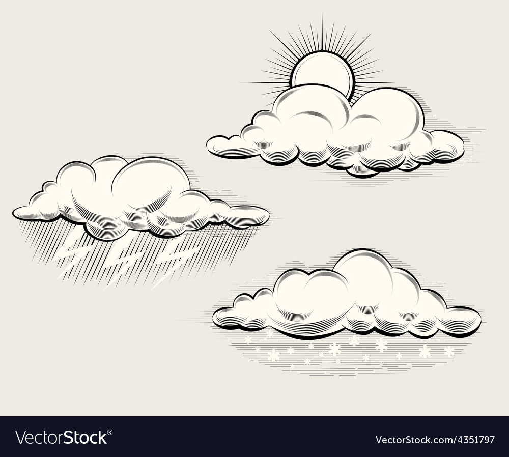 Engraving weather sun behind cloud rain and vector | Price: 1 Credit (USD $1)