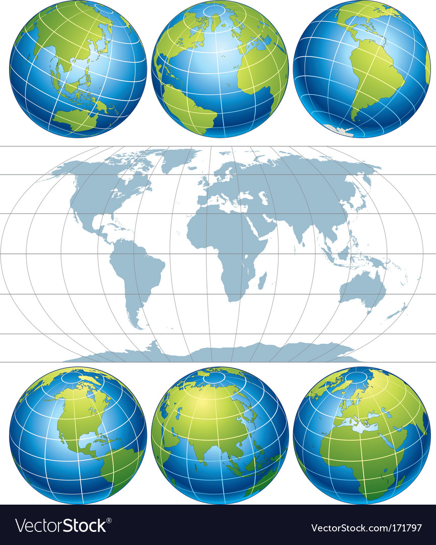 Globe map vector | Price:  Credit (USD $)