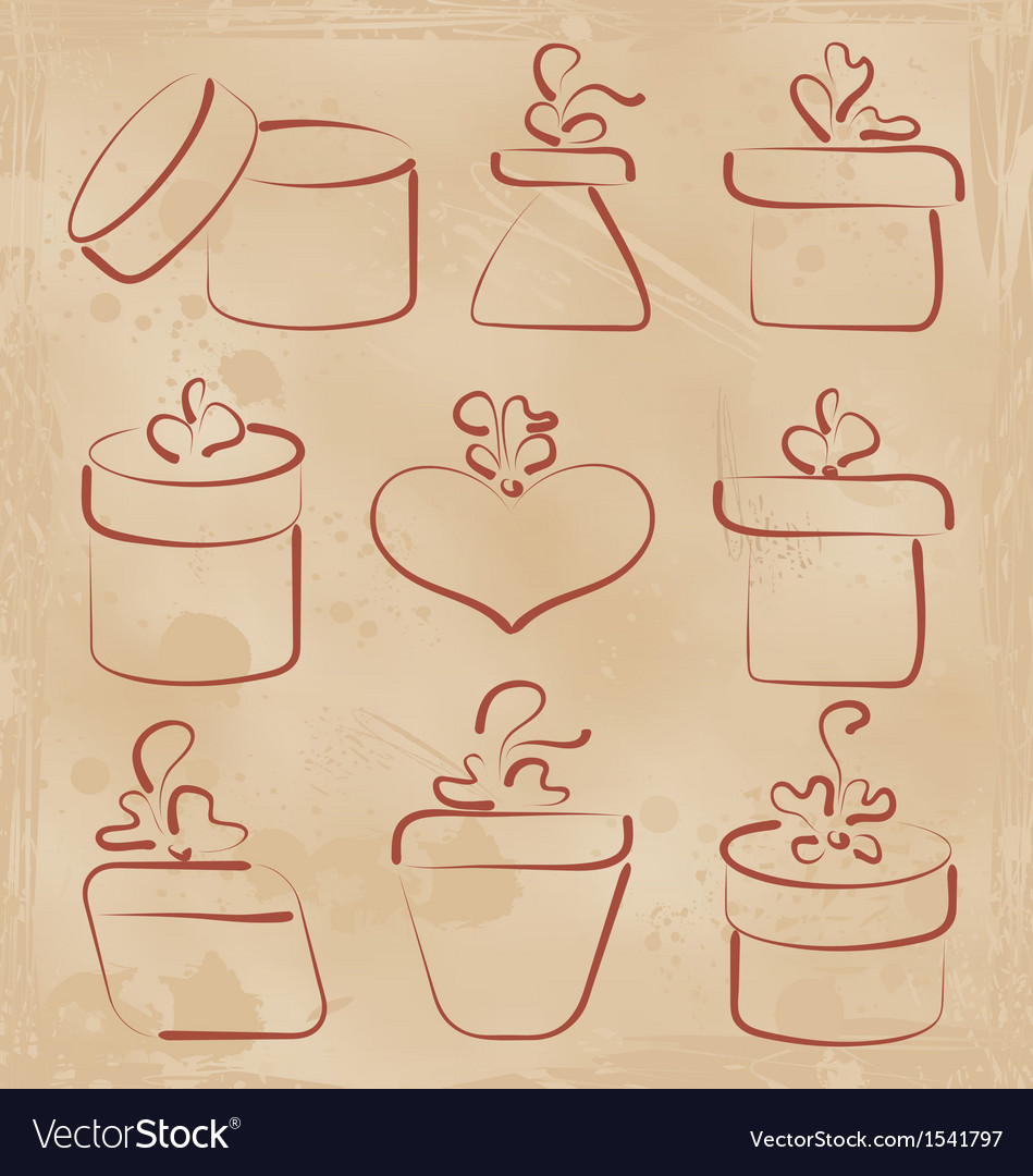 Hand drawn set gift boxes for your anniversary vector | Price: 1 Credit (USD $1)