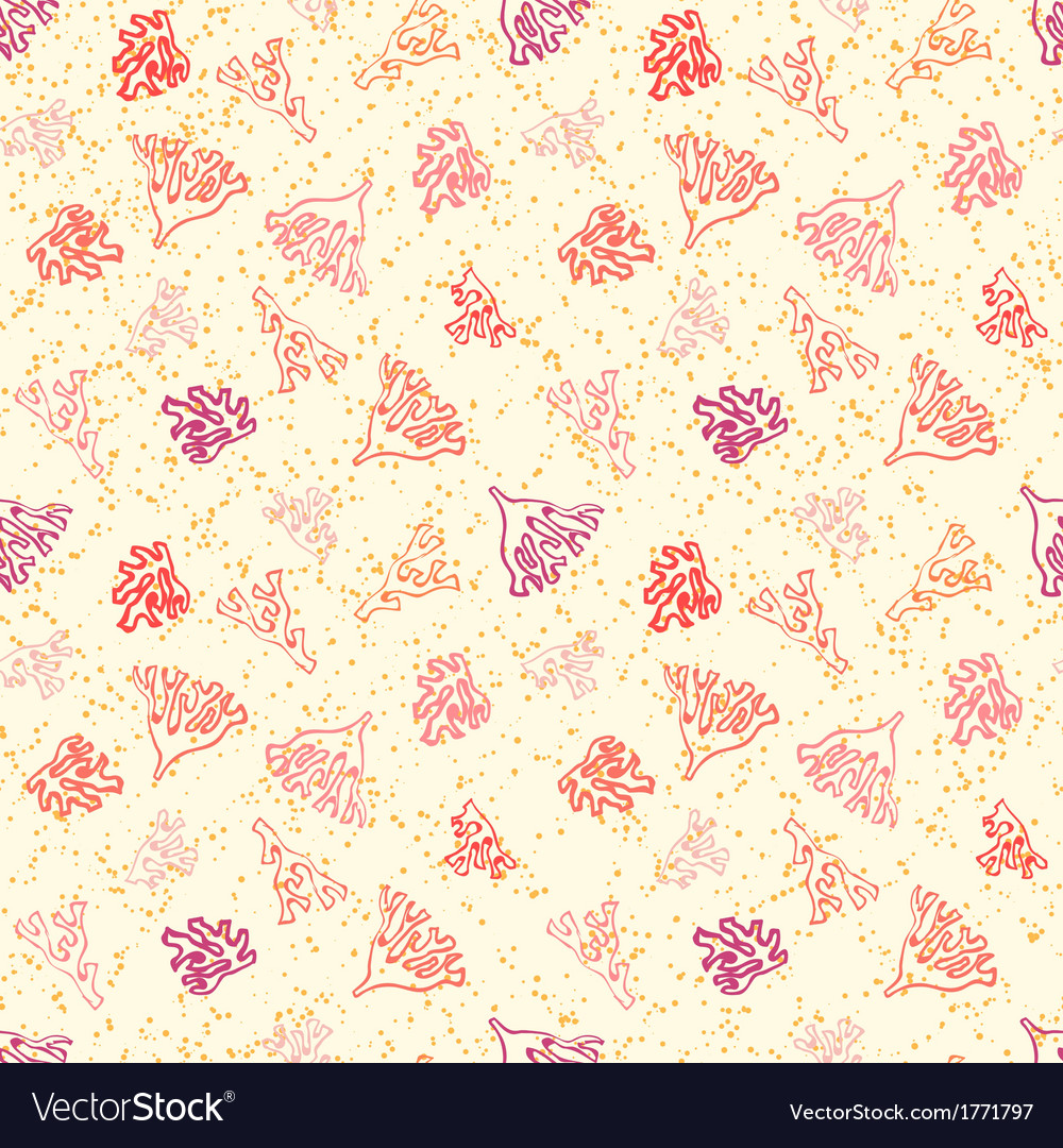 Nautical pattern with corals on sandy beach vector | Price: 1 Credit (USD $1)