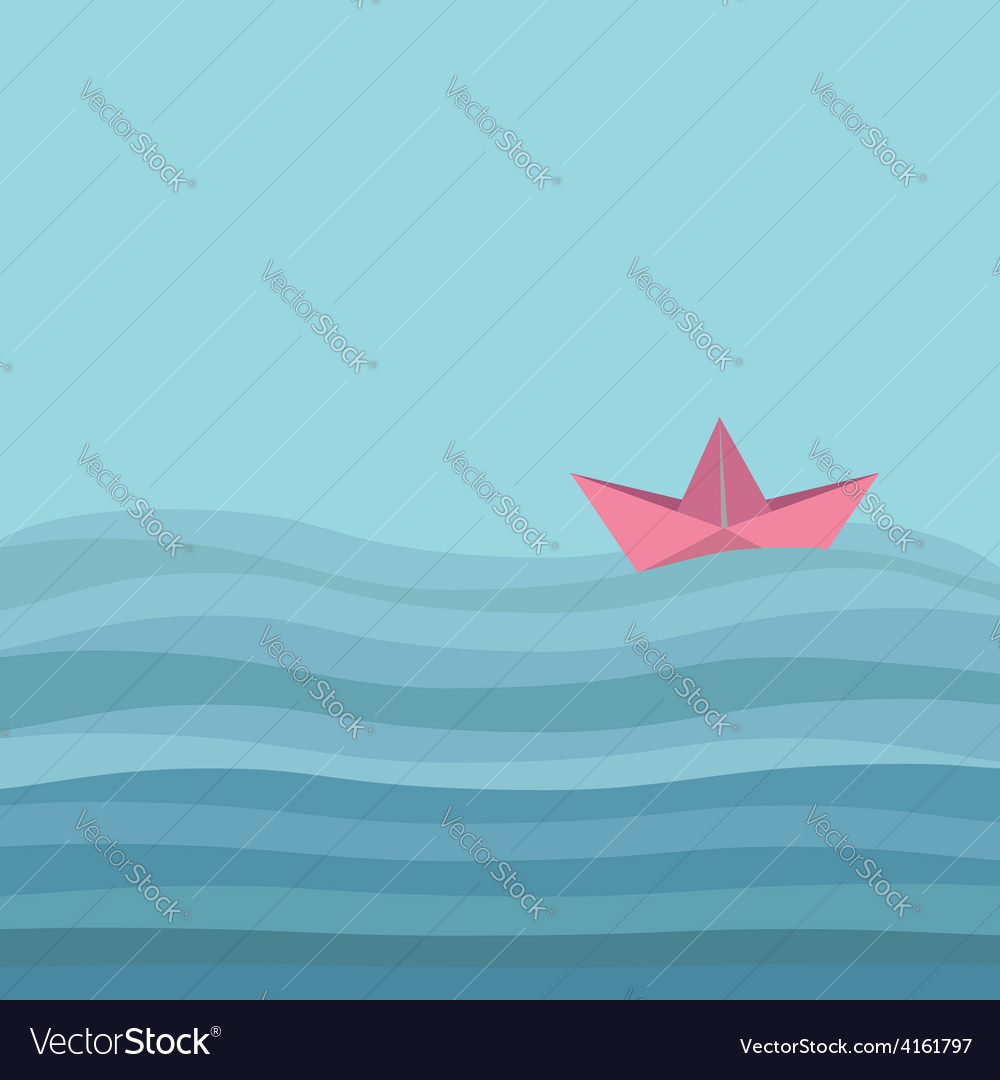 Origami paper boat and ocean sea waves flat vector | Price: 1 Credit (USD $1)