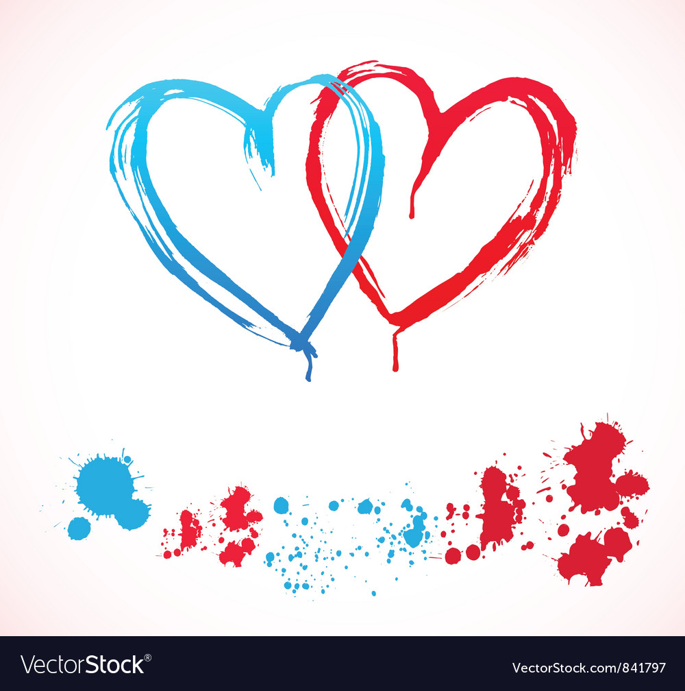 Paint hearts vector | Price: 1 Credit (USD $1)