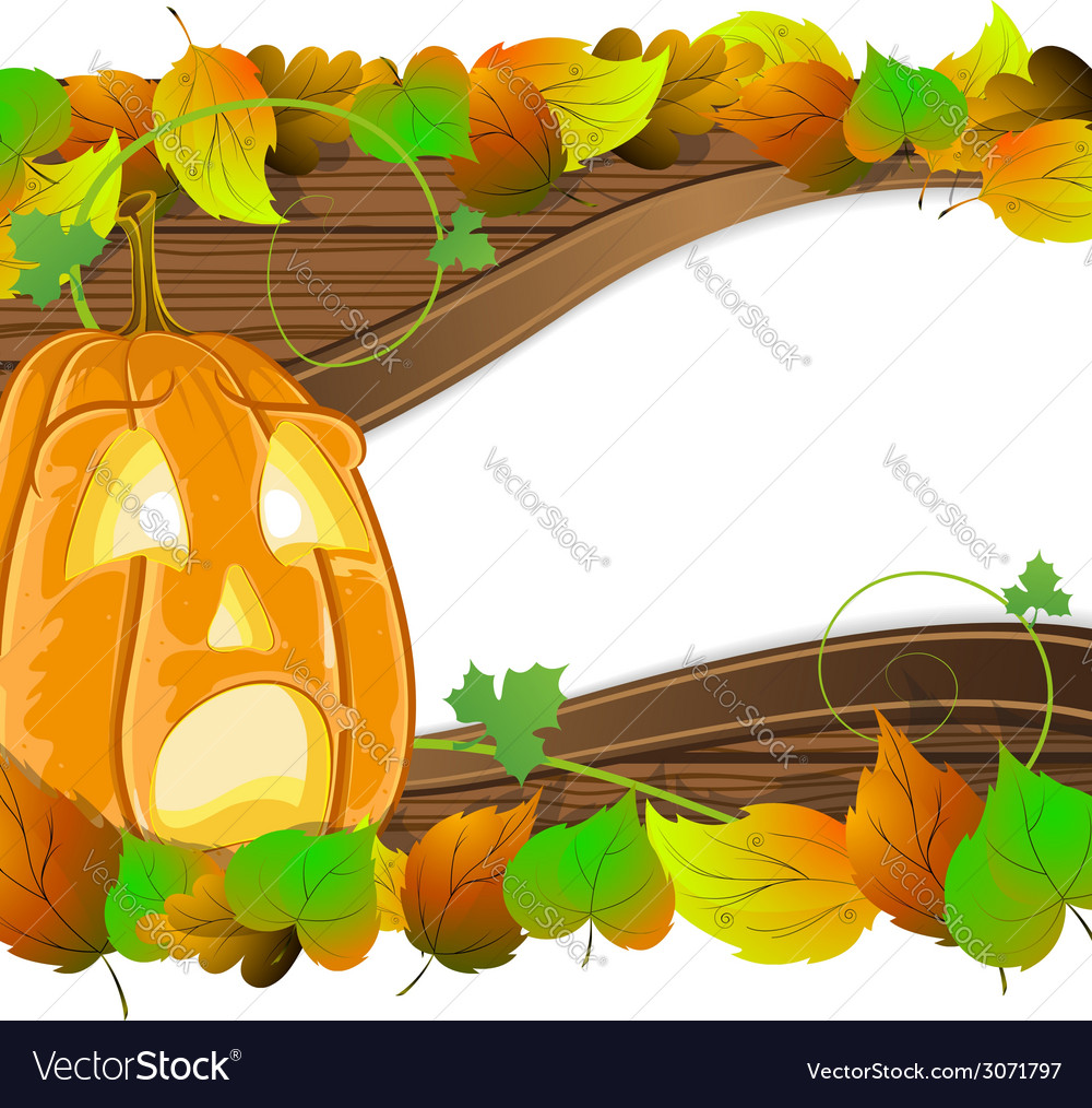 Pumpkin head on wooden background vector | Price: 1 Credit (USD $1)