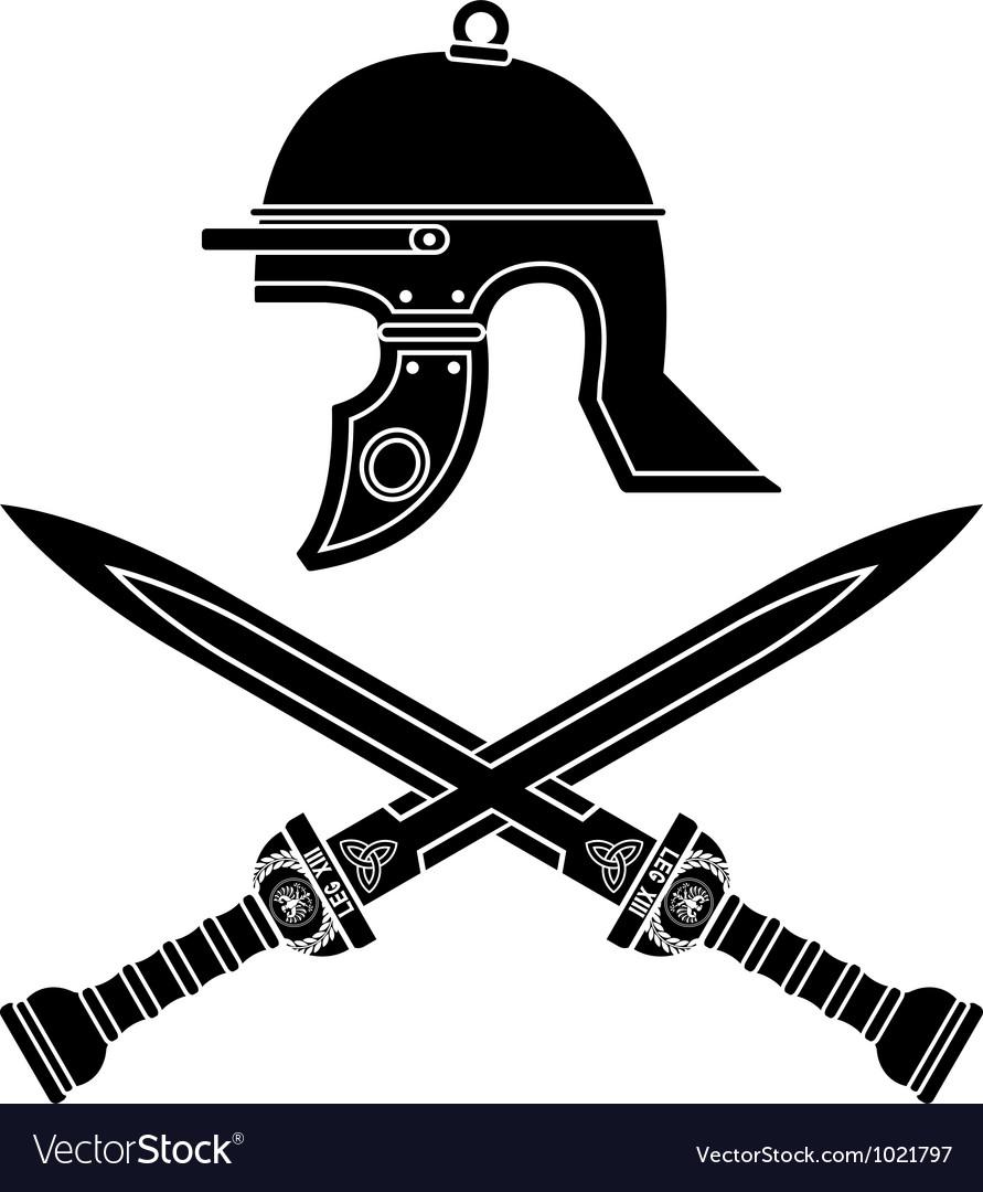 Roman helmet and swords vector | Price: 1 Credit (USD $1)