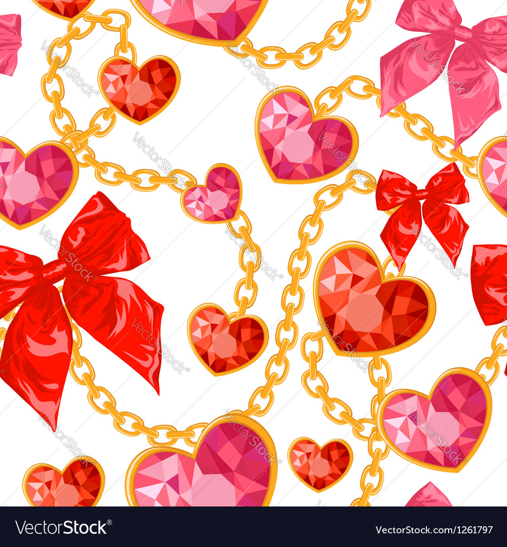 Ruby heart pendants hanging with golden chains vector | Price: 1 Credit (USD $1)