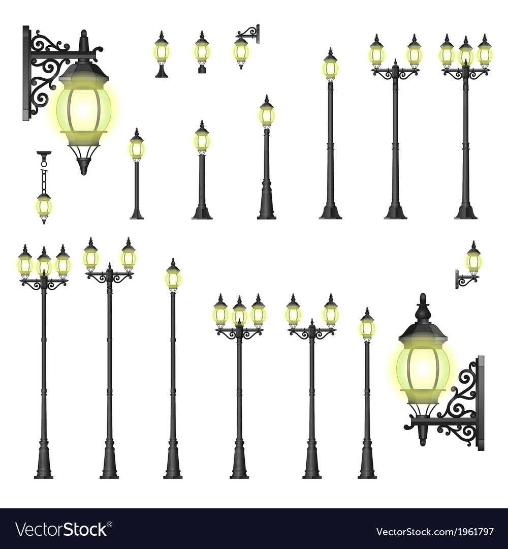 Set of street lanterns - isolated vector | Price: 1 Credit (USD $1)