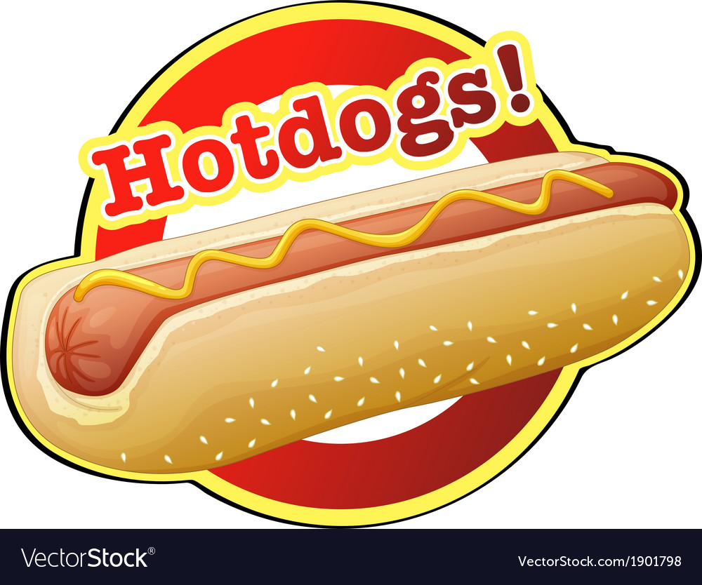 A hotdog label vector | Price: 1 Credit (USD $1)