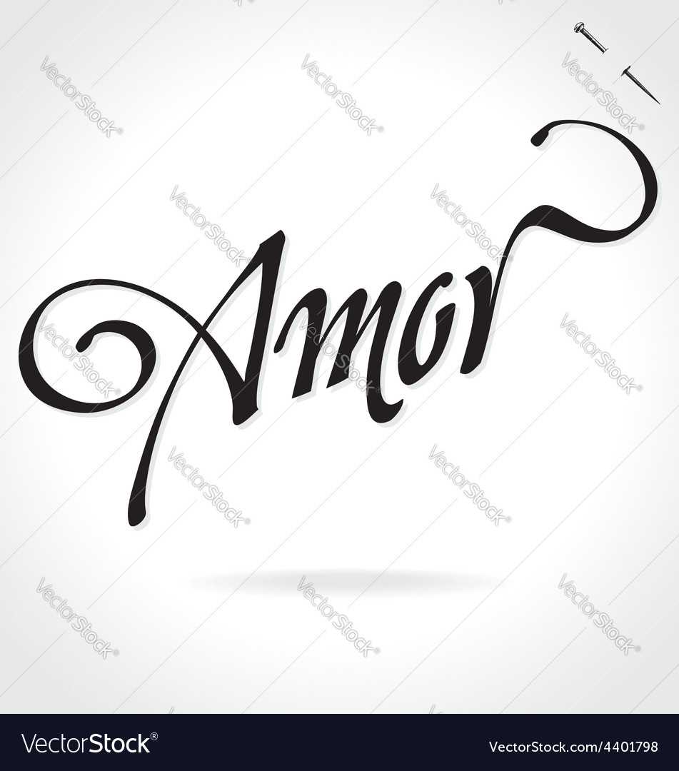 Amor original custom hand lettering vector | Price: 1 Credit (USD $1)