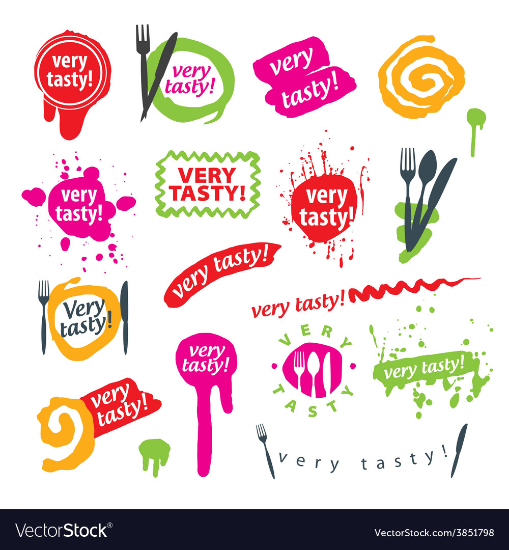Big set of logos for food vector | Price: 1 Credit (USD $1)