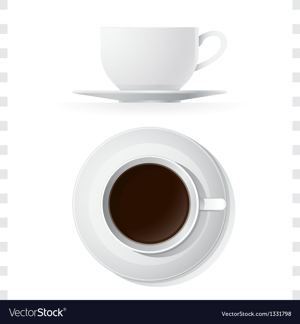 Coffee cup icons top and side view vector | Price: 1 Credit (USD $1)