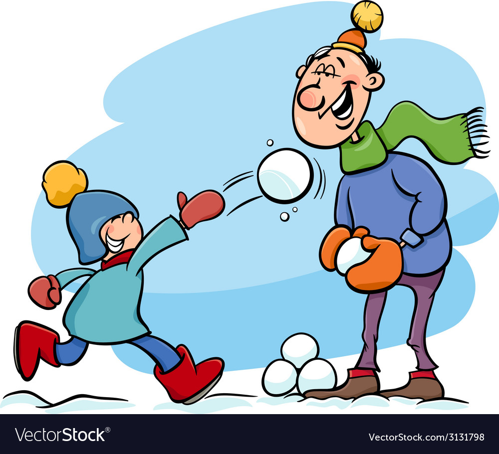 Dad and son on winter cartoon vector | Price: 1 Credit (USD $1)